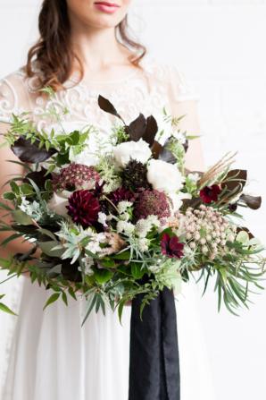 Bride Bouquet in Burgundy and Garnet