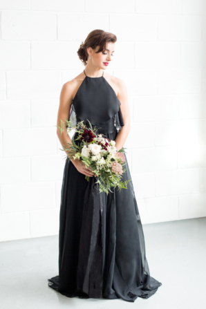 Bridesmaid in Black Chiffon