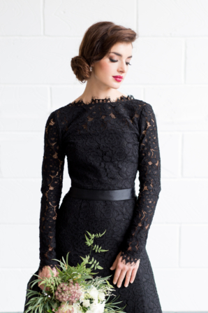 Bridesmaid in Black Lace Sleeve Gown