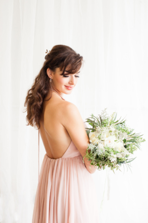 Bridesmaid in Pink Chiffon Gown