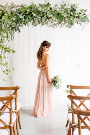 Bridesmaid in Pink Flowing Dress