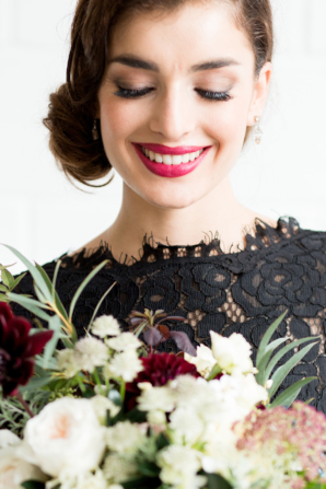 Bridesmaid with Berry Lips