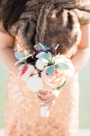 Bridesmaid with Dusty Miller Bouquet