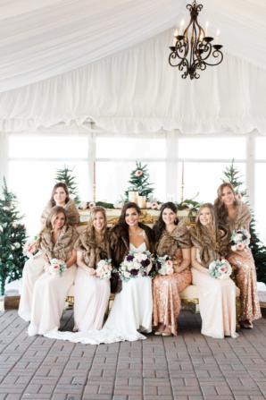 Bridesmaids in Faux Fur Stoles