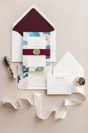 Eggplant and Teal Wedding Invitations