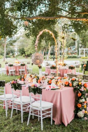 Elegant Glamorous Pink and Coral Wedding Reception