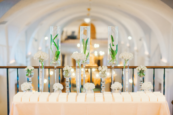 Escort Card Table with Submerged Flowers