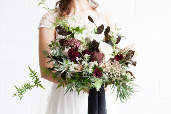 Garnet and Green Bride Bouquet