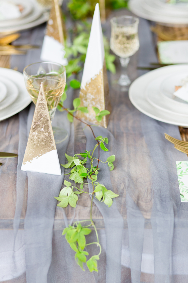 Gold Foil Dipped Tree Centerpieces