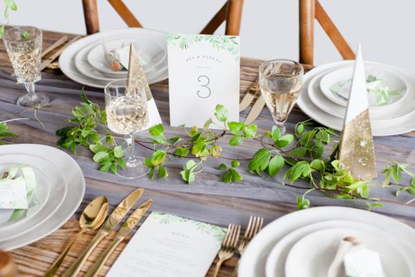 Gold Gray Green Wedding Table