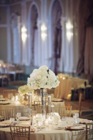 Gold and White Ballroom Wedding Reception