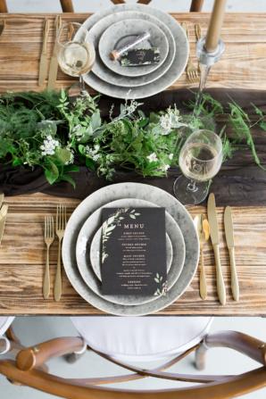 Green Black Gray Wedding Table