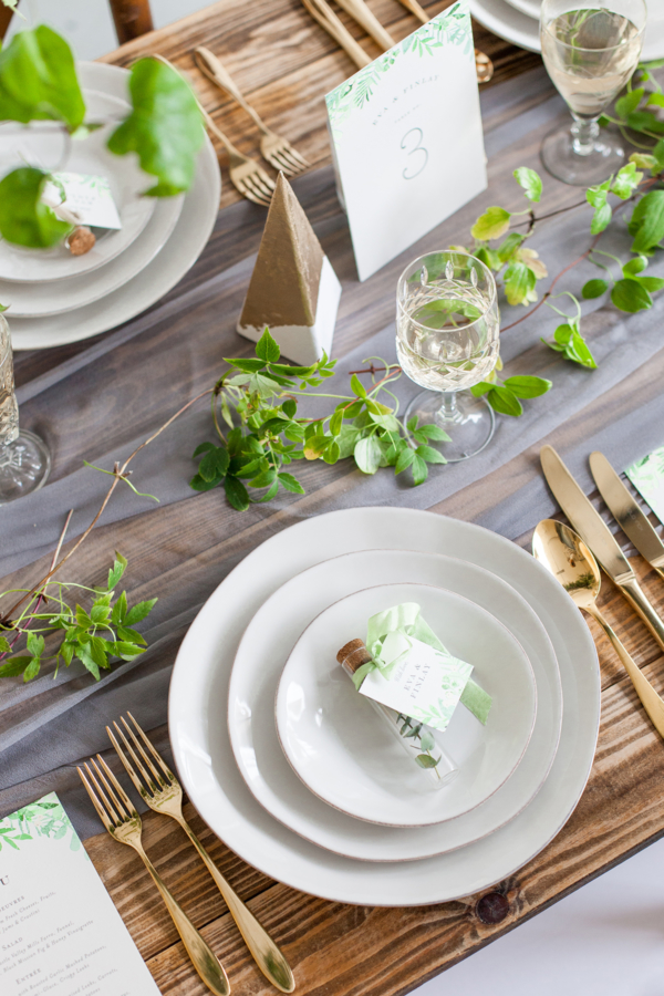 Green and Gray Wedding Centerpiece