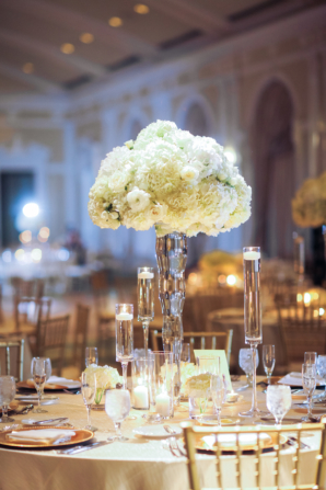 Hydrangea and Rose Pedestal Centerpiece