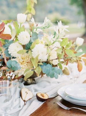Ivory Amber Green Fall Wedding Flowers
