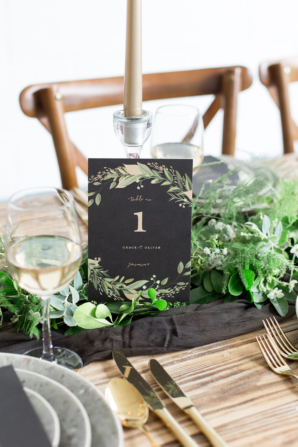 Minted Black and Gold Table Number