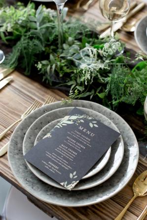 Minted Black and Green Wedding Menu
