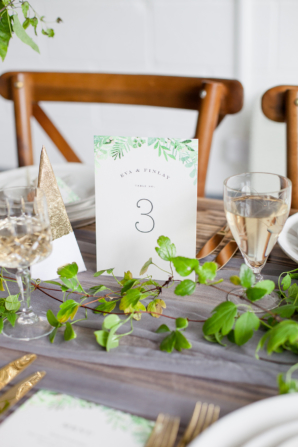 Minted Green Watercolor Leaf Table Numbers