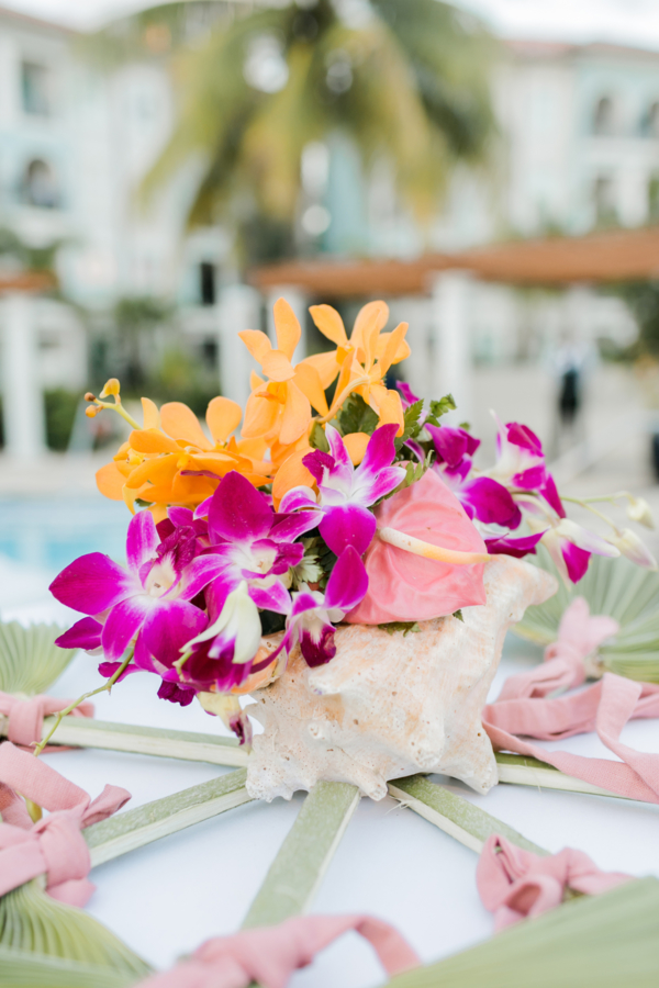Orchid and Shell Centerpiece