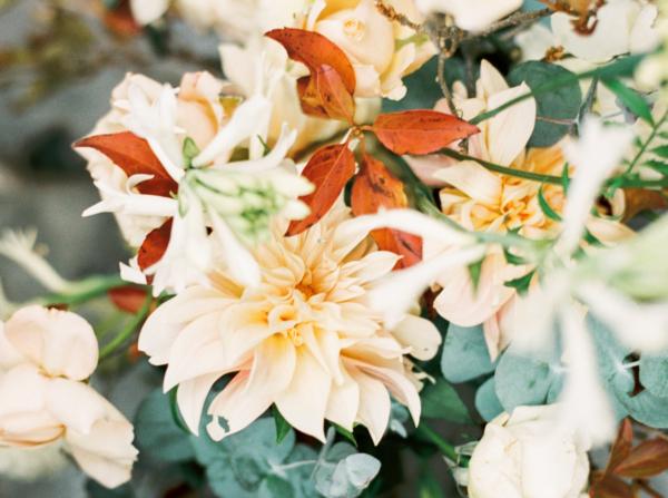 Peach Dahlia Wedding Flowers