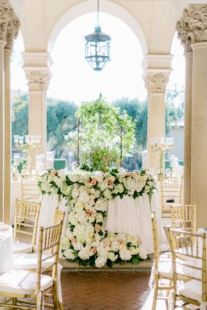 Romantic Greenery and Flower Garland Wedding Arrangement