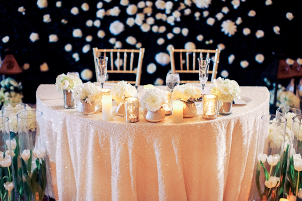 Sweetheart Table with Sequin Linen