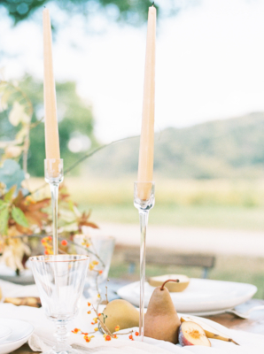 Taper Candle and Pear Centerpiece