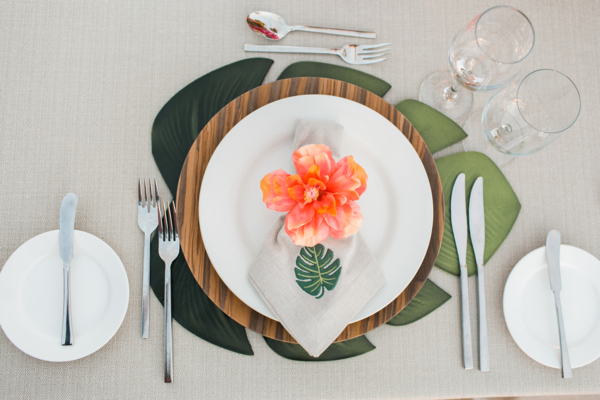 Tropical Wedding Flower and Palm Leaf Place Setting