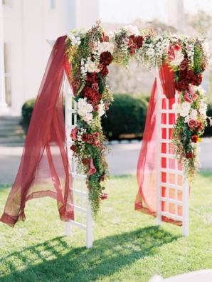 Wedding Arbor with Red and White Floral