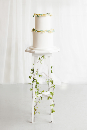 Wedding Cake with Leaf Accents
