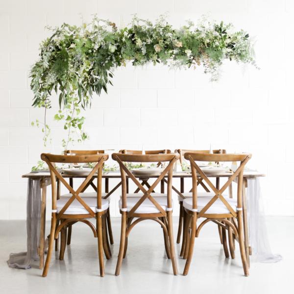 Wedding Table with Hanging Greenery Chandelier