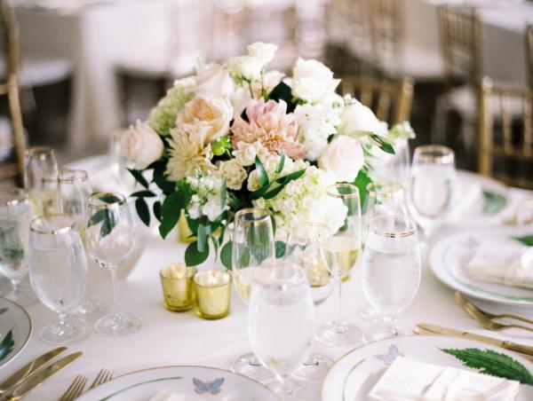 Blush Dahlia and White Hydrangea Centerpiece