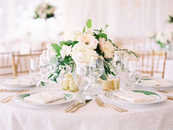 Blush Green and White Centerpiece