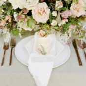 Blush and Ivory Centerpiece with Mini Cake