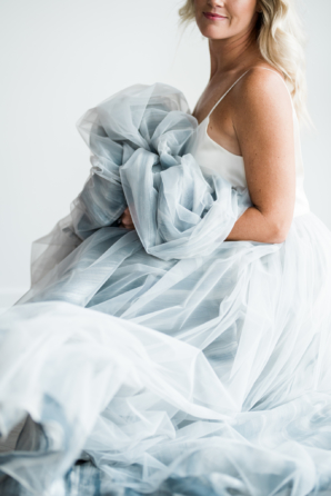 Bride in Blue Tulle Skirt