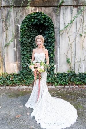 Bride in Crochet Lace Dress