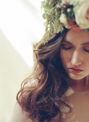 Bride in Flower Headpiece
