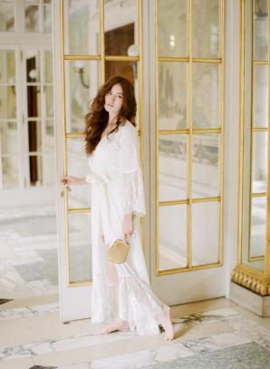 Bride in Long White Robe