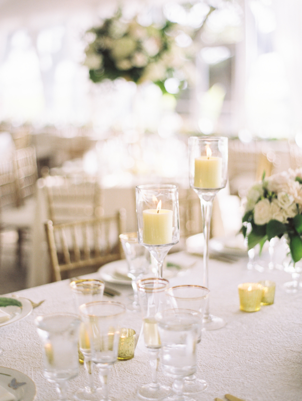 Candle Centerpiece on Textured Linen