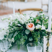 Centerpiece with Garden Rose and Greenery