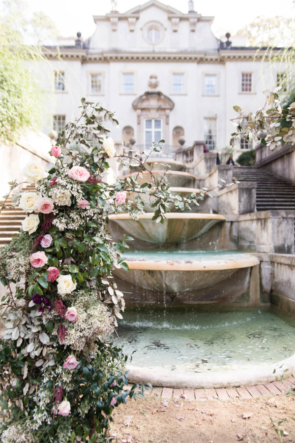 Ceremony by Mansion Fountain