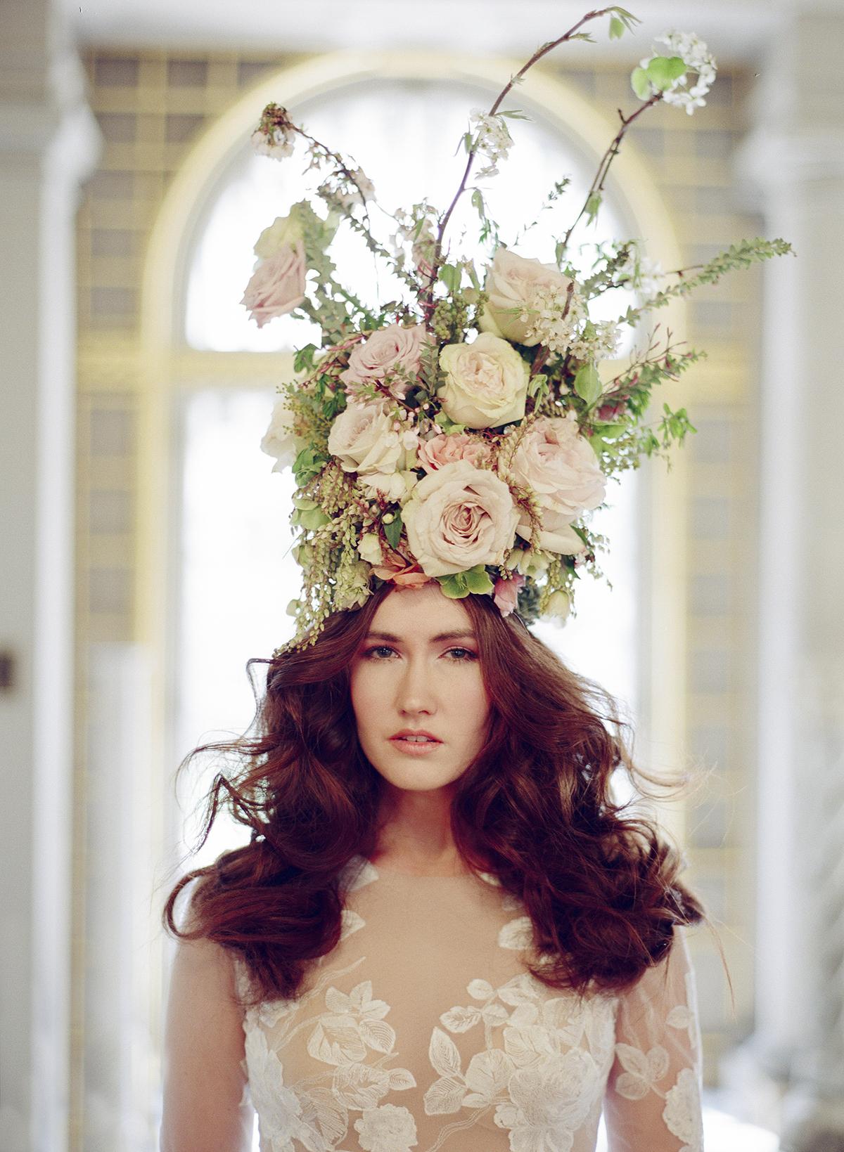 Dramatic Flower Headpiece for Bride