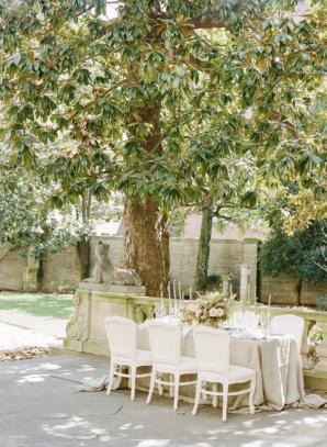 Estate Wedding Tablescape Under Tree
