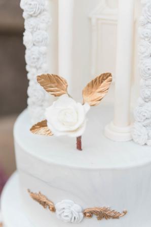 Glamorous Wedding Cake with Gold Leaf