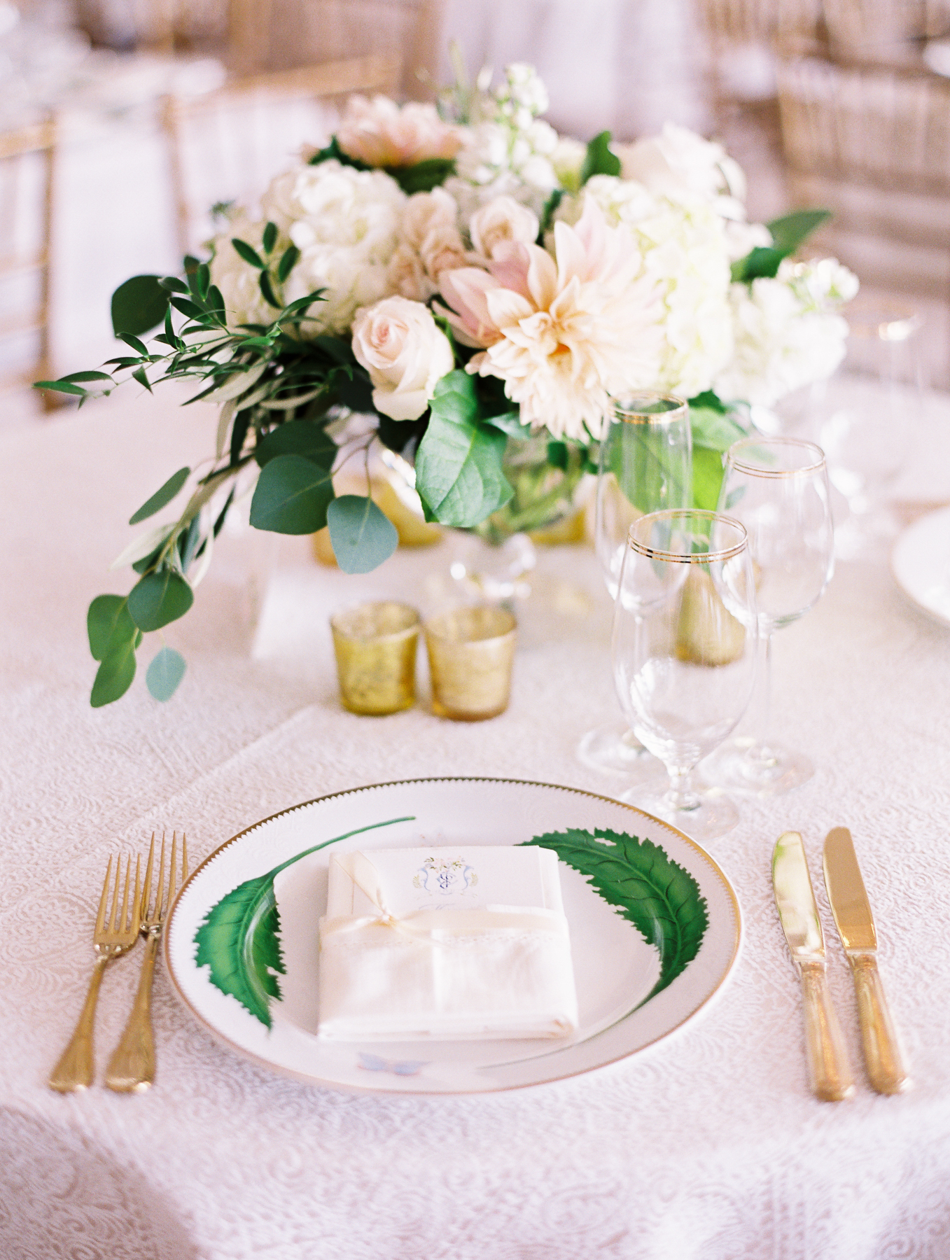 Green Gold And White Wedding Place Setting Elizabeth Anne Designs