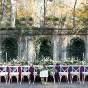 Green and Purple Outdoor Wedding Table