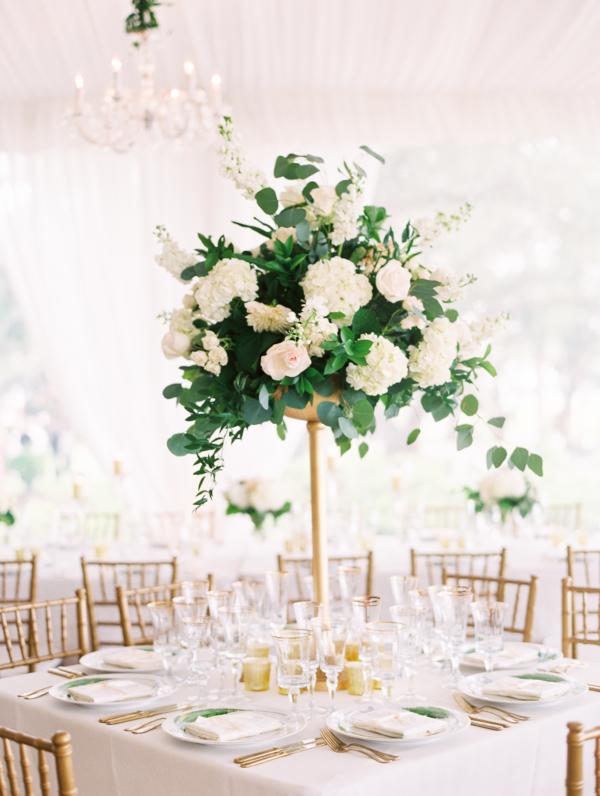 Hydrangea and Rose Pedestal Centerpiece