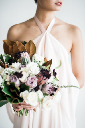 Mauve and Ivory Bouquet with Magnolia Leaves