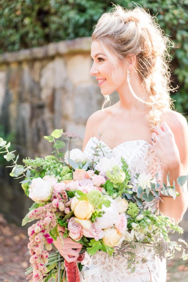 Organic Pastel Bridal Bouquet