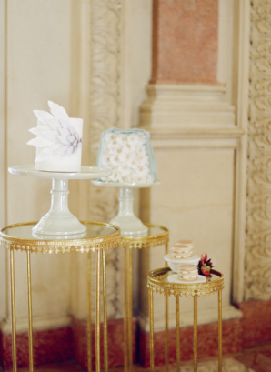 Petite Wedding Cakes on Gold Tables